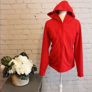 Red Hooded Fuzzy Stretch Winter Jacket